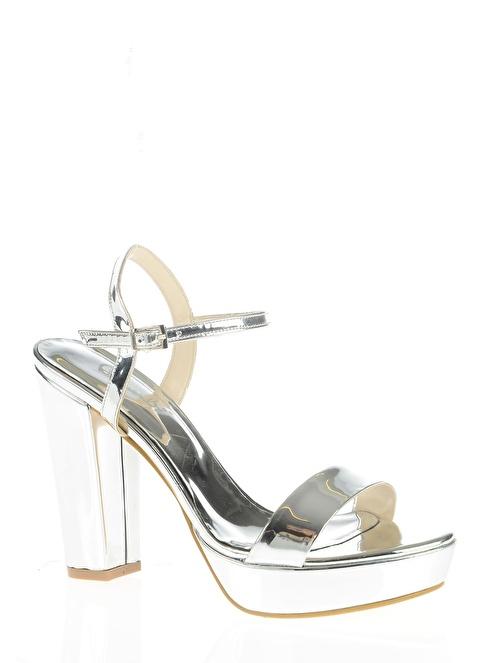 Bambi Kalın Topuklu Ayakkabı Gümüş